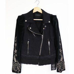 NWT BLANK NYC Denim Mix Moto Jacket in Black Small